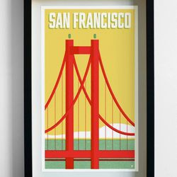 """This was the first item we created that was travel related. We wanted to lean on the aesthetics of 50s and 60s air line posters but give them a modern take. <a href=""""http://pilotandcaptain.com/products/san-francisco-travel-print"""">San Francisco Travel Prin"""
