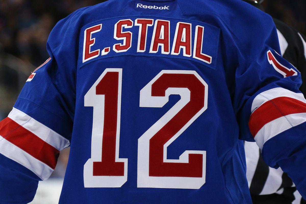 NEW YORK, NY - FEBRUARY 29:  Eric Staal #12 of the New York Rangers skates against the Columbus Blue Jackets at Madison Square Garden on February 29, 2016 in New York City. The Rangers defeated the Blue Jackets 2-1.  (Photo by Bruce Bennett/Getty Images)