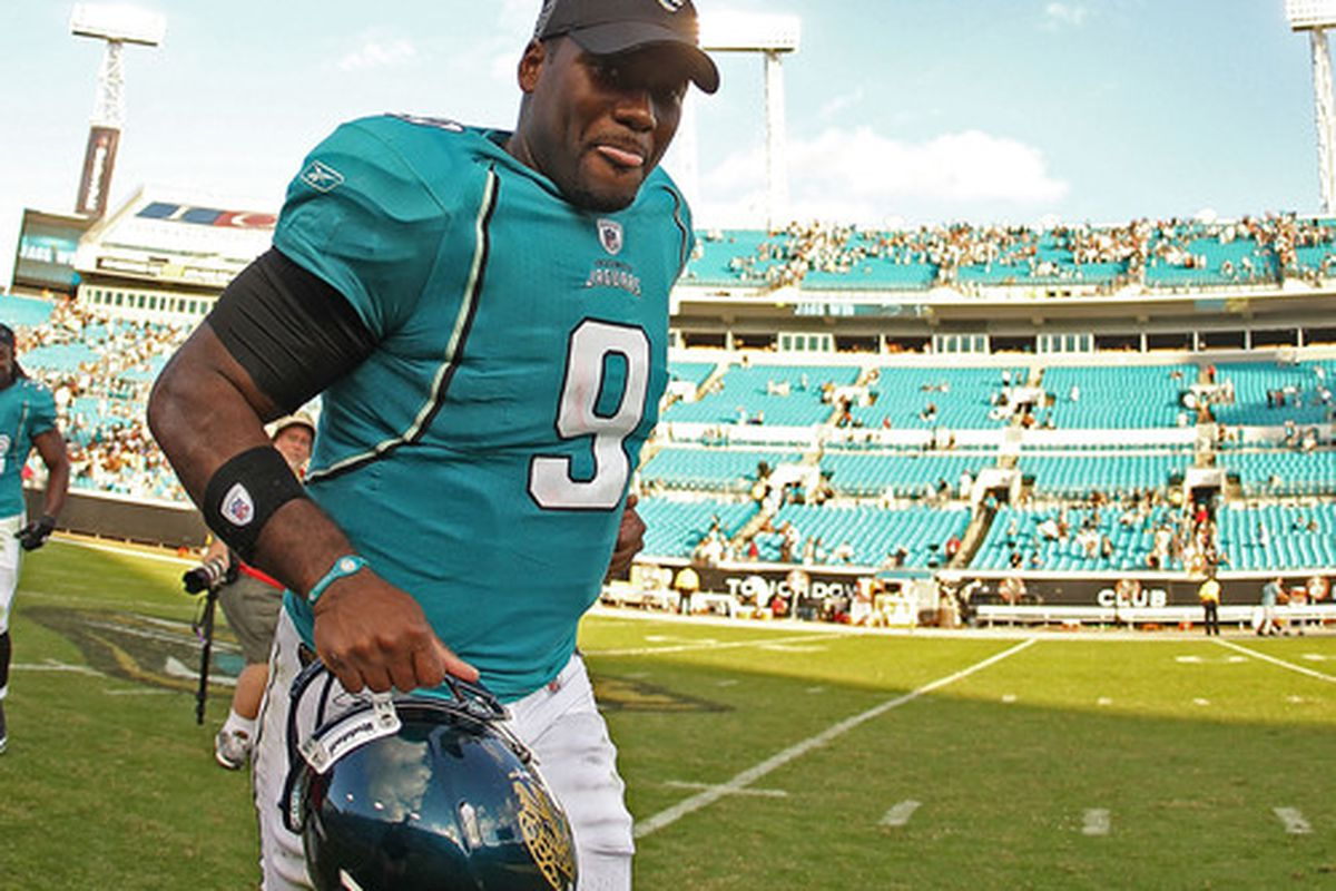 JACKSONVILLE FL - NOVEMBER 21:  David Garrard #9  of the Jacksonville Jaguars  runs off the field after winning a game agaisnt the Cleveland Browns at EverBank Field on November 21 2010 in Jacksonville Florida.  (Photo by Mike Ehrmann/Getty Images)