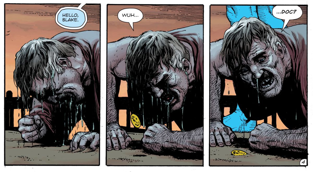 Edward Black, the Comedian, and Doctor Manhattan in Doomsday Clock #3, DC Comics, 2018