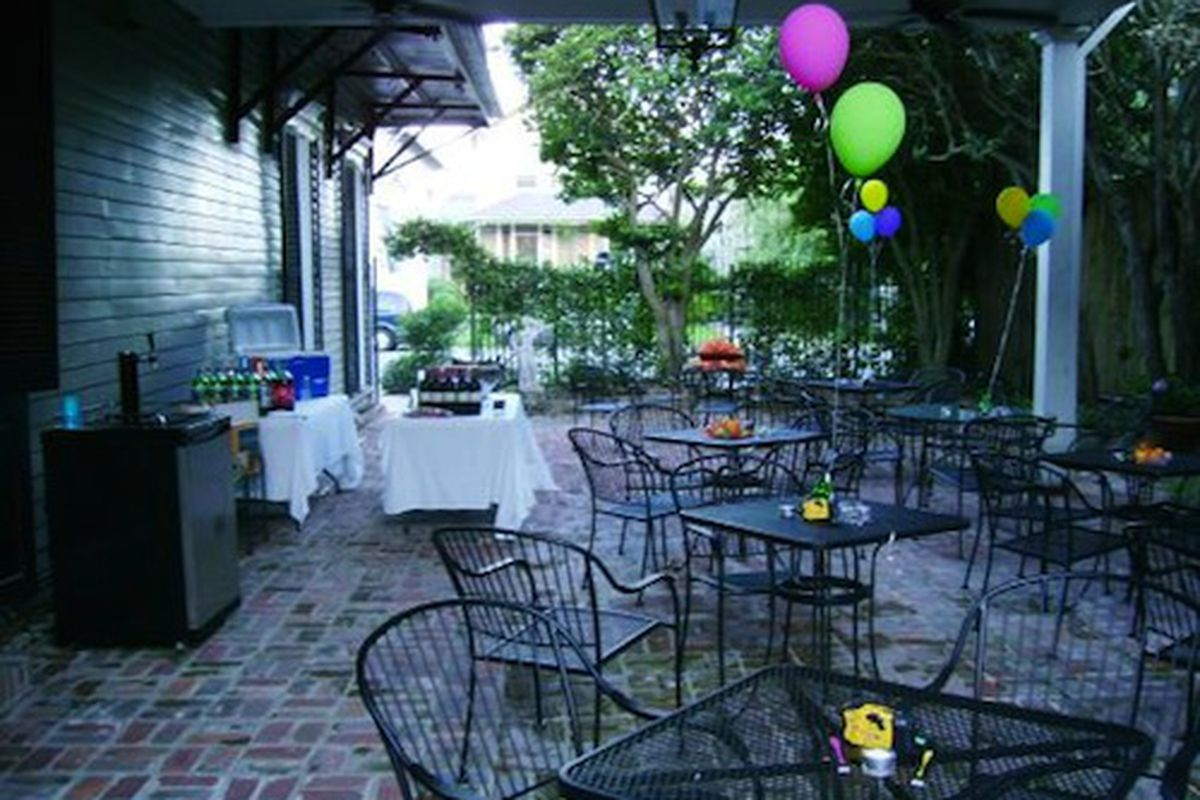 The patio at the Uptowner set up for a birthday party in 2009.