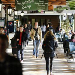 Utah Valley University students walk through the food court of the Sorensen Student Center on campus in Orem  Wednesday, Jan. 21, 2015.