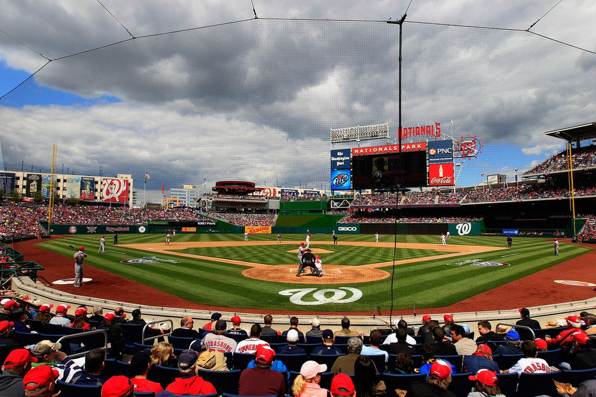 WASHINGTON, DC - APRIL 12: The Cincinnati Reds bat against the Washington Nationals during the fourth inning of opening day at Nationals Park on April 12, 2012 in Washington, DC.  (Photo by Rob Carr/Getty Images)