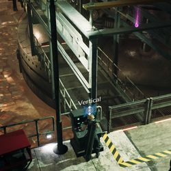 Lower the platform to pick up the purple Materia