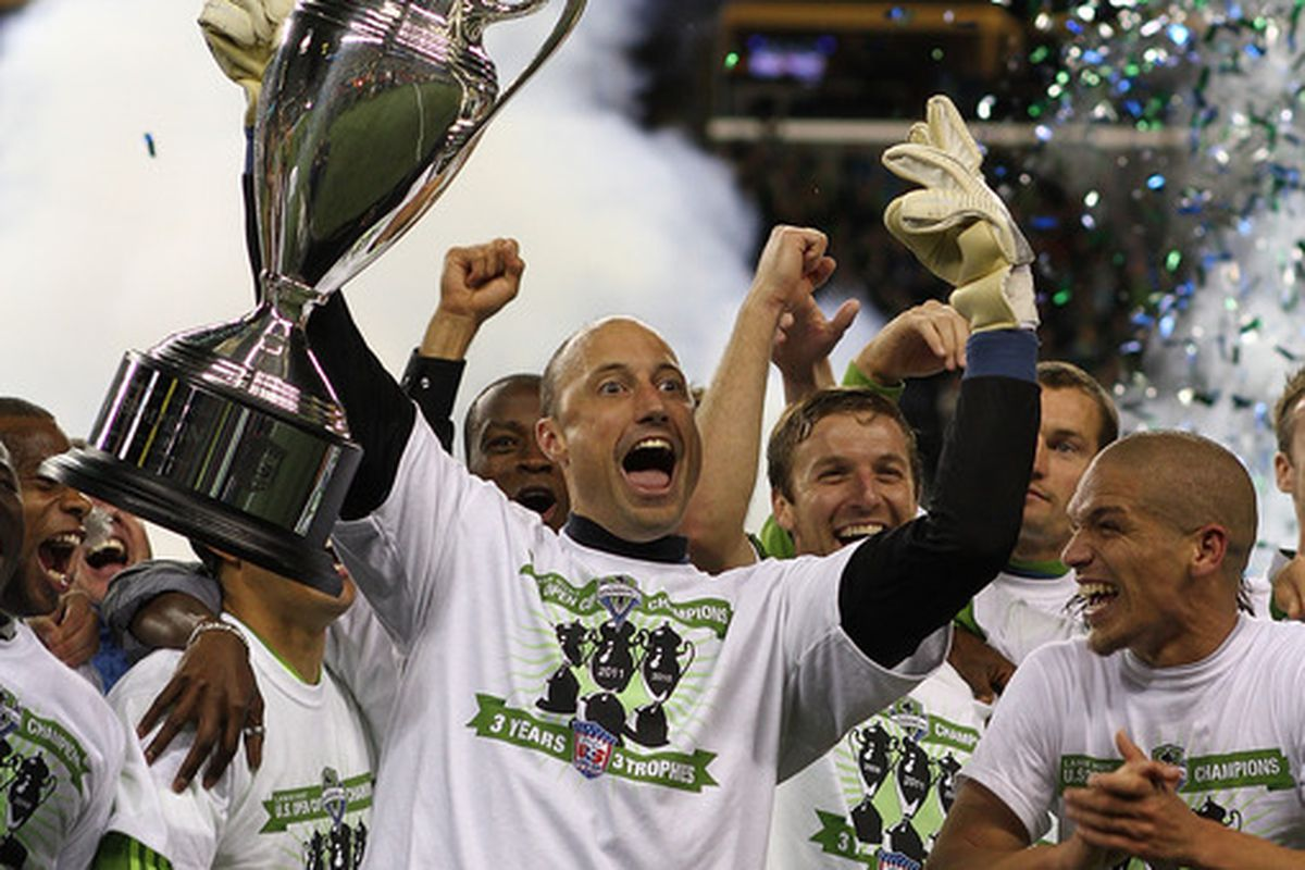 SEATTLE - OCTOBER 04:  Lifting the U.S. Open Cup gives you crazy eyes, apparently (Photo by Otto Greule Jr/Getty Images)