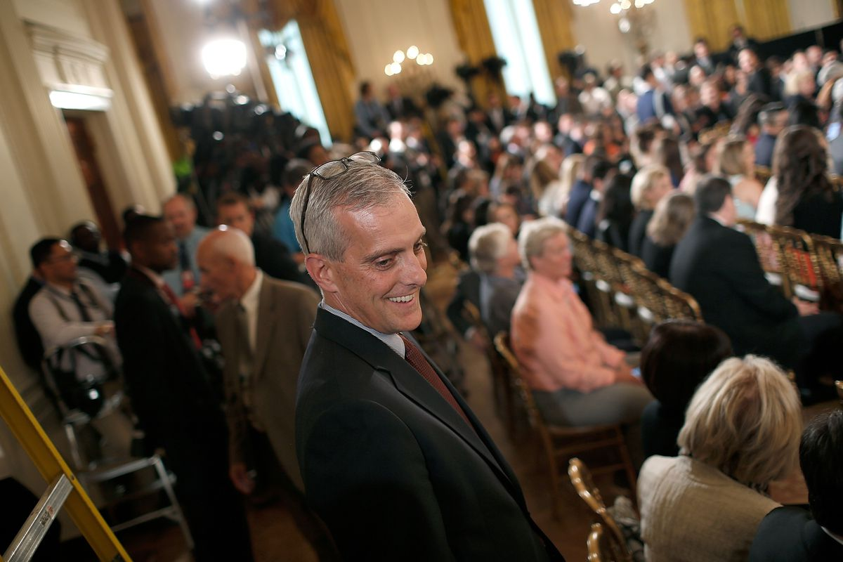 White House Chief of Staff Denis McDonough speaks to members of the audience while arriving at an event welcoming the World Series Champion San Francisco Giants to the White House June 4, 2015 in Washington, DC.