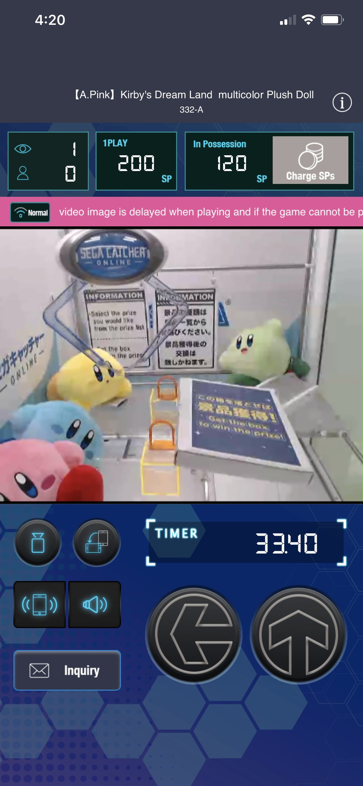 full screenshot of Sega Catcher Online, showing a compartment full of Kirby plushies and a rather ineffectual crane claw overhead