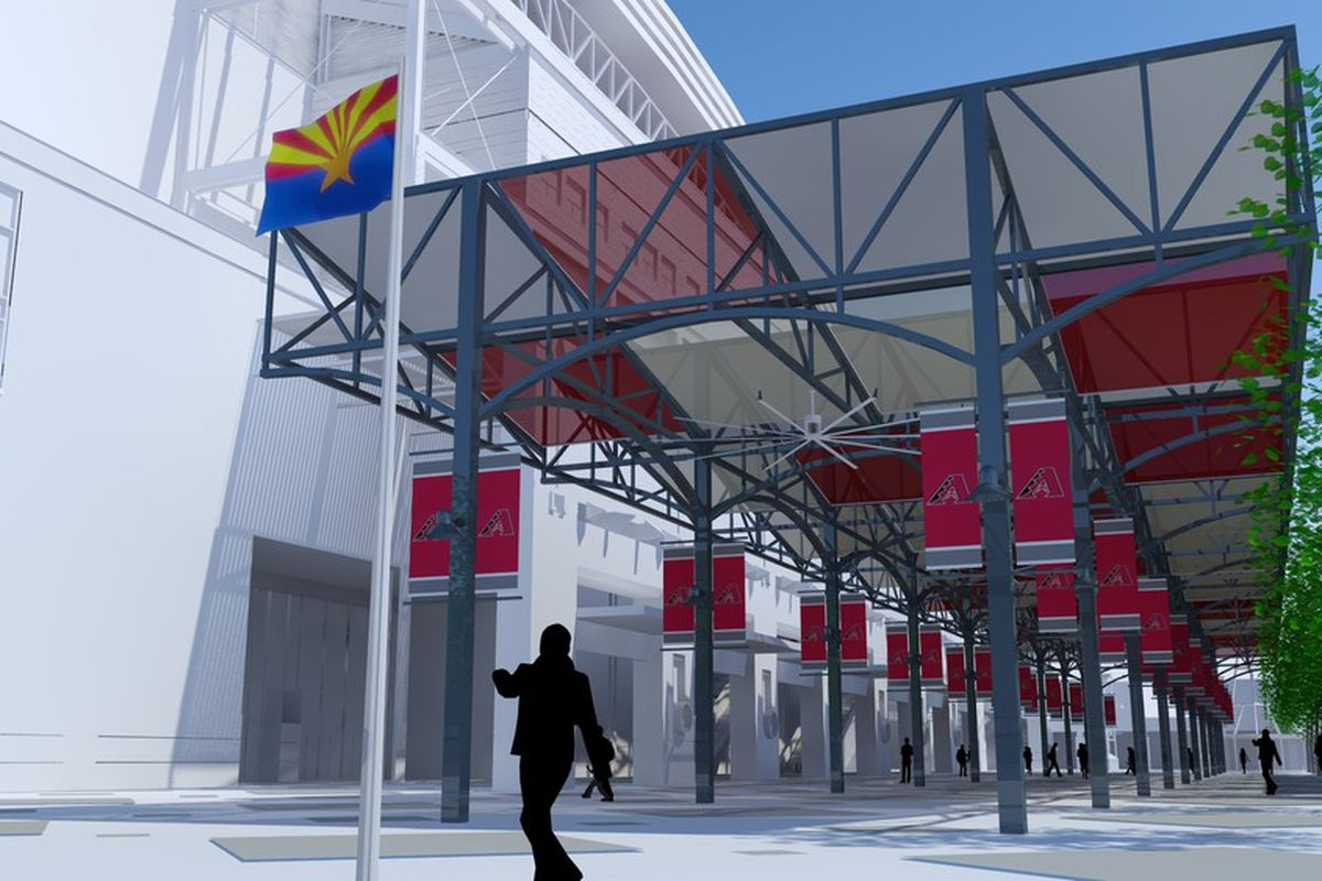 Seen from the north, a rendering of the solar generating, shade structure being installed on the main plaza of Chase Field in Phoenix, Arizona.