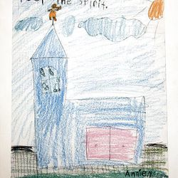 A drawing from a child that will be put in a time capsule for the Oquirrh Mountain Temple is seen Monday.