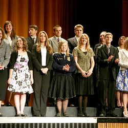 Finalists in the trade and technical education category take the stage at Cottonwood High School during the Sterling Scholar awards ceremony on Wednesday night.