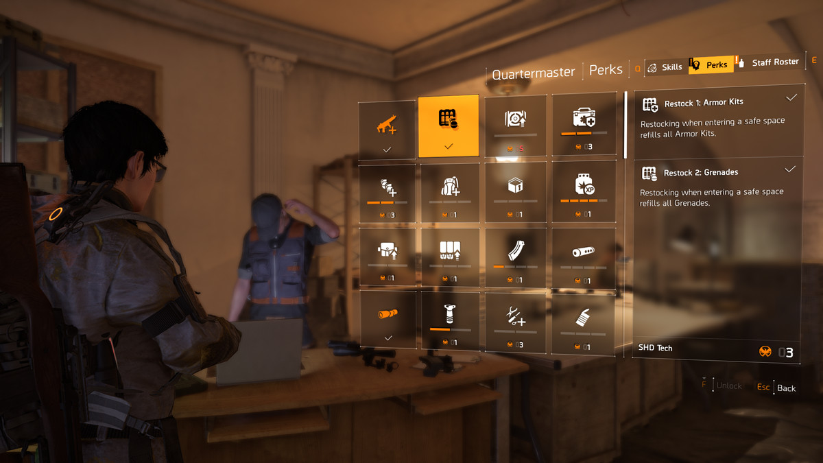 Showing off the perks list in The Division 2