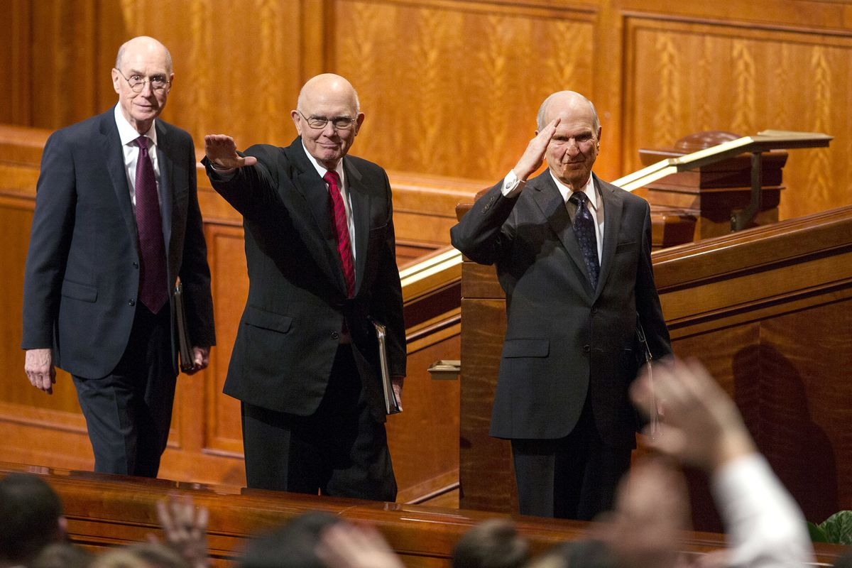 President Henry B. Eyring, Second Counselor in the First Presidency President Dallin H. Oaks, First Counselor in the First Presidency and President Russell M. Nelson exit after the General Priesthood session of the 188th Annual General Conference of The Church of Jesus Christ of Latter-day Saints.