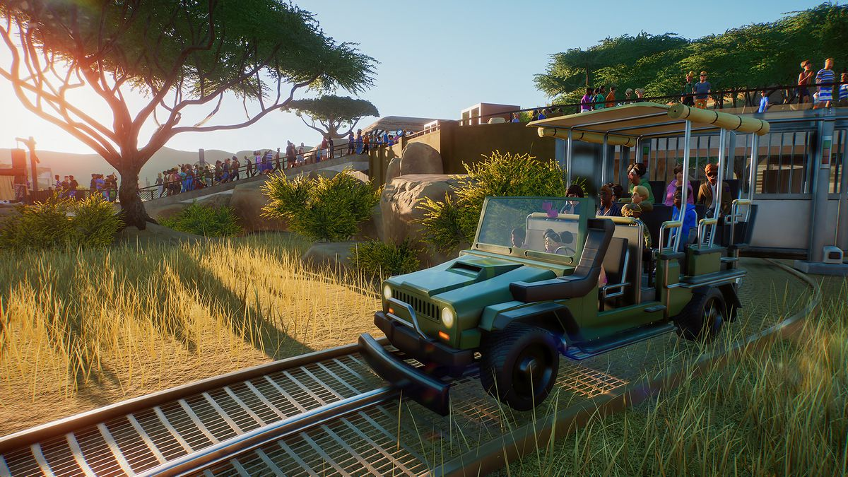 guests taking a jeep ride on rails in Planet Zoo