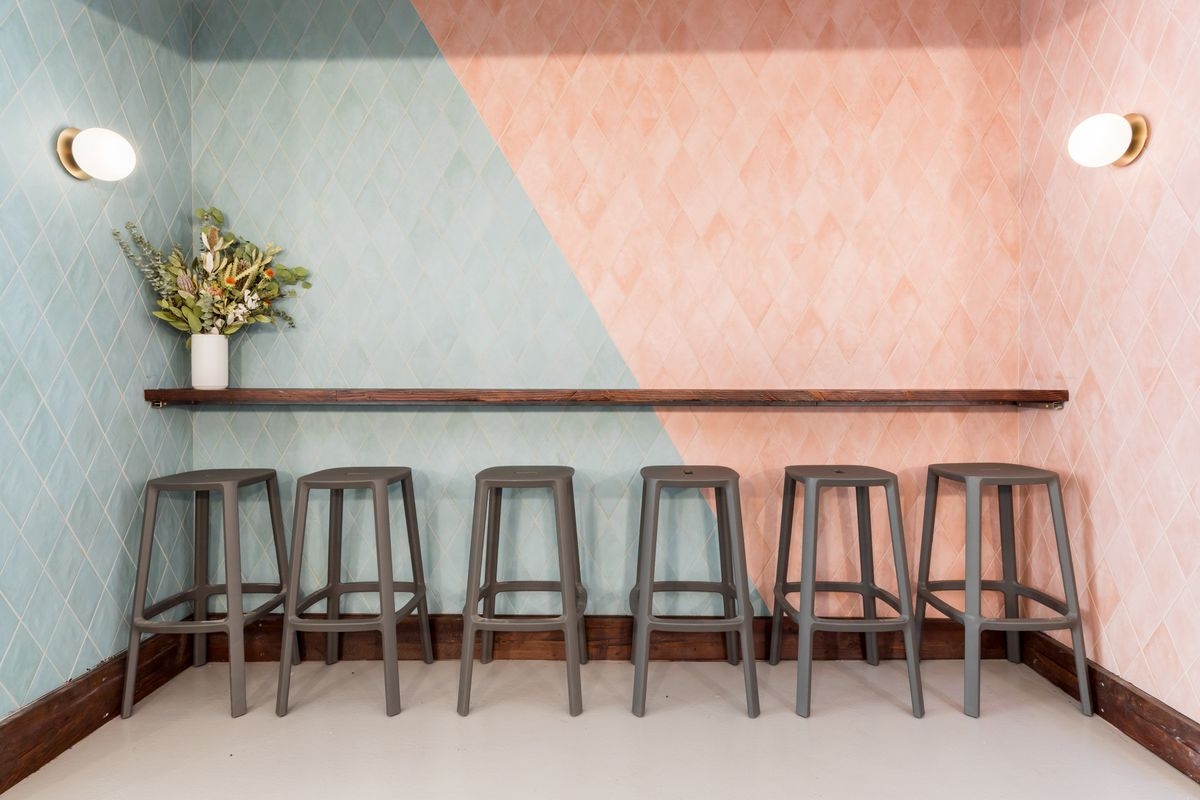 Counter and stools at Village Rotisserie
