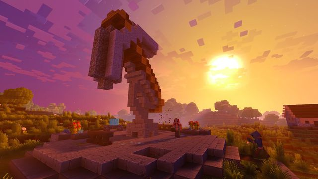 An ax sculpture made of Minecraft blocks stands in front of a sunset in an image from the game's Super Duper Graphics Pack trailer