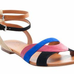 """<a href=""""http://www.marcjacobs.com/marc-by-marc-jacobs/womens/shoes/635017/color-weave-10mm-sandal-flat?sort="""">Marc by Marc Jacobs</a> <b>color weave</b> 10mm sandal flat, $248"""