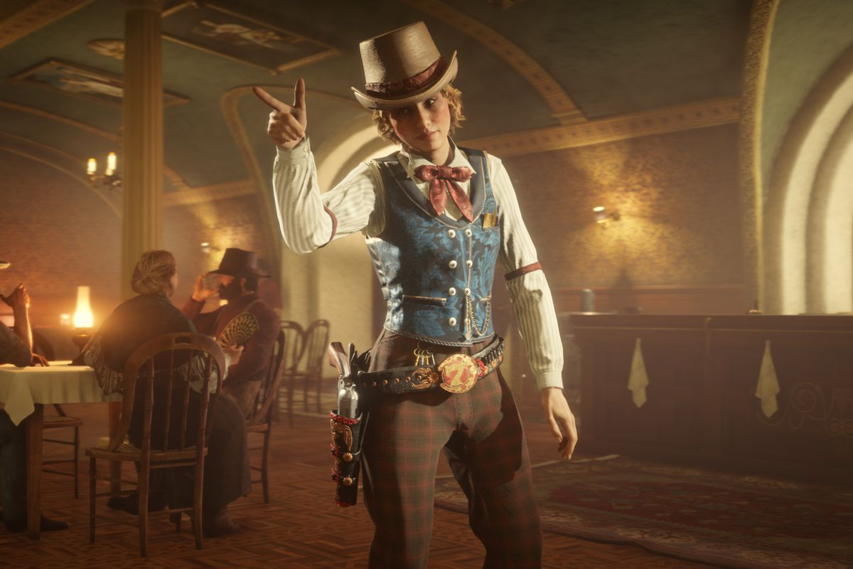 A Red Dead Online character doing a finger gun and wearing plaid pants and a blue vest