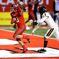 Utah Utes wide receiver Britain Covey (18) celebrates a touchdown catch as Utah and Oregon State play a college football game at Rice Eccles stadium in Salt Lake City on Saturday, Dec. 5, 2020. Utah won 30-24.