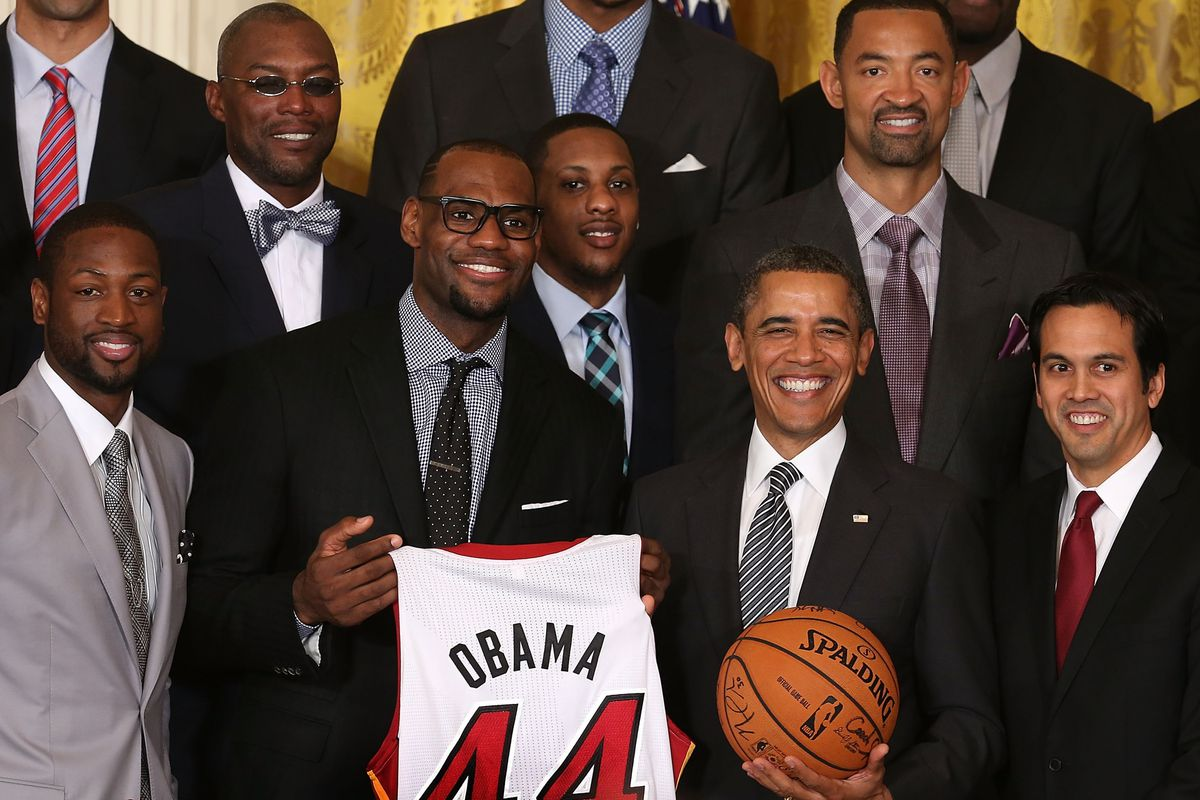 The Heat greet President Obama at the January 2013 visit to commemorate their 2012 NBA Championship