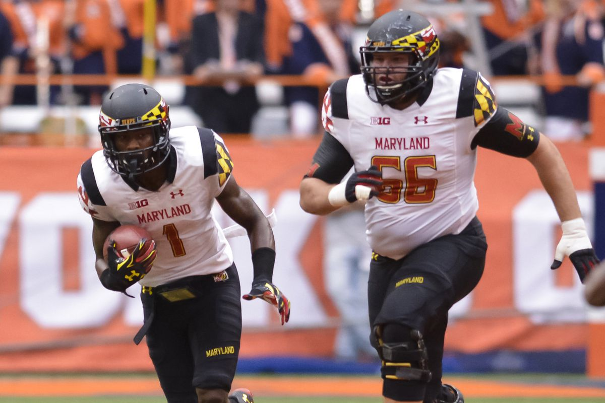 Andrew Zeller (right) leads Maryland's offensive line into 2015.