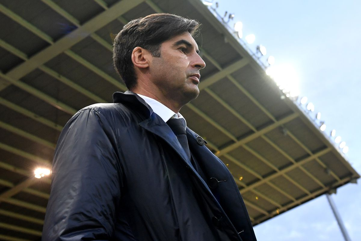 AS Roma coach Paulo Fonseca looks on ahead of the Serie A...