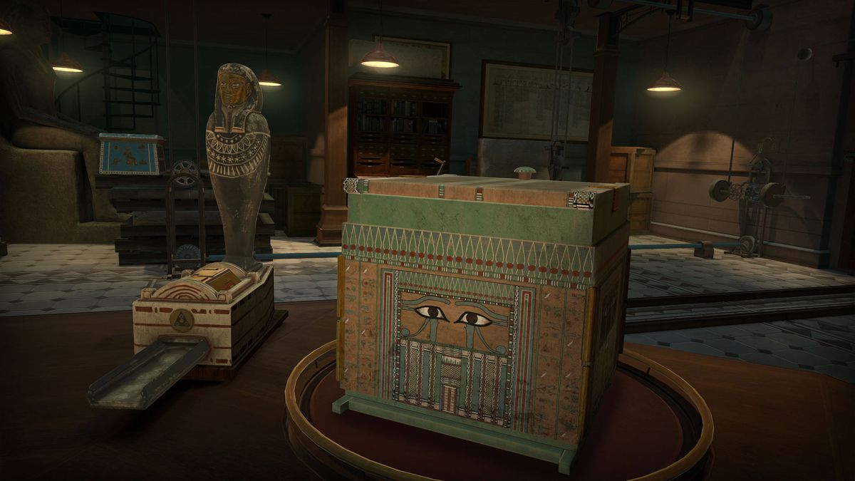 an ancient-looking box sits on a table in The Room VR: A Dark Matter