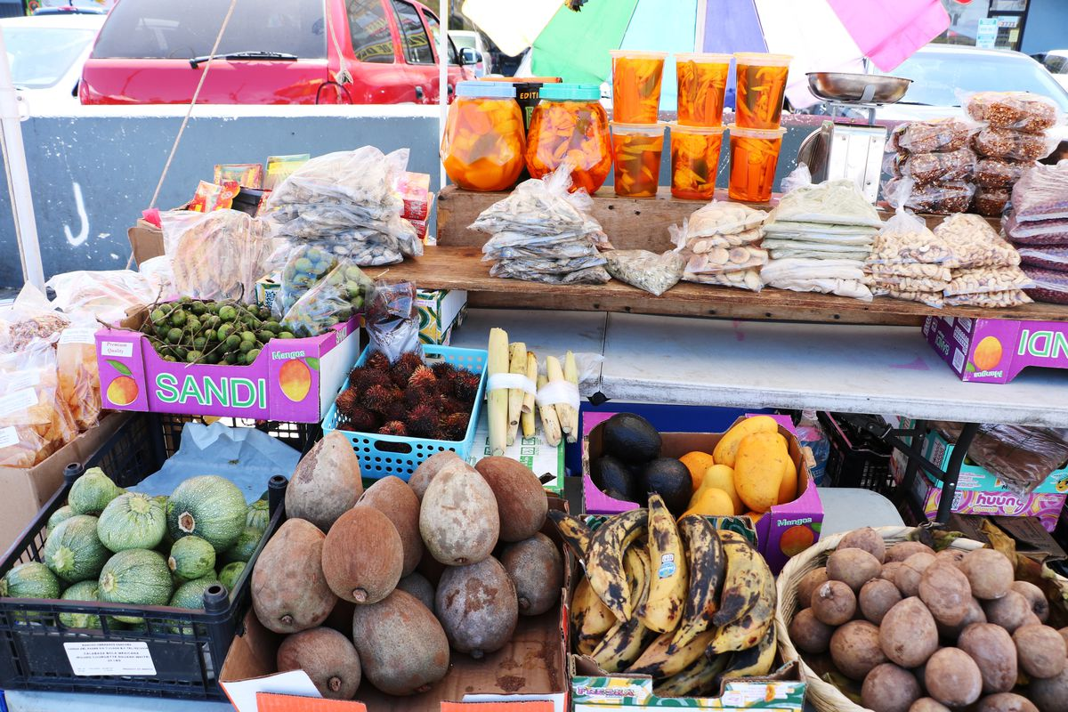 Colorful produce and other Salvadoran ingredients at Two Guys Plaza in Koreatown.