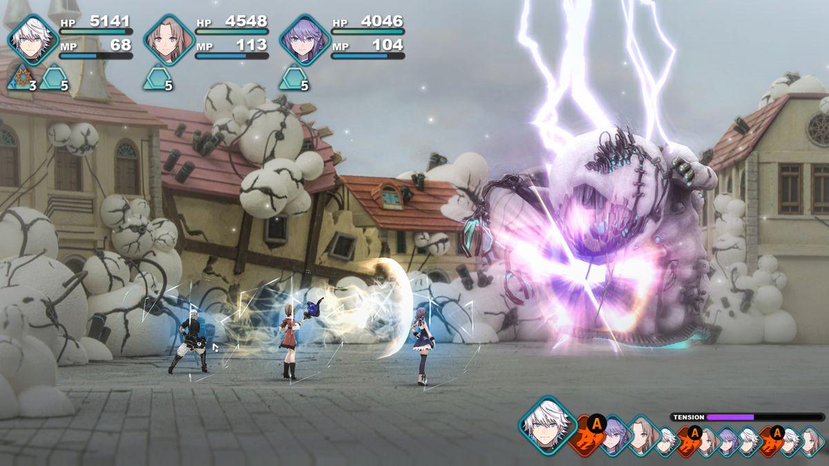 Los jugadores luchan contra un monstruo gigante en una captura de pantalla de Fantasian