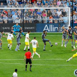July 10, 2019 - Saint Paul, Minnesota, United States - Minnesota United midfielder Kevin Molino (7) blocks a free kick by New Mexico United forward Devon Sandoval (9) during the quarter-final match of the US Open Cup at Allianz Field.