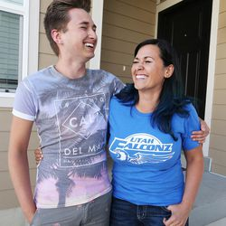 Utah Falconz owner and player Hiroko Jolley, right, laughs with her son Derek in Midvale on Friday, July 10, 2015.