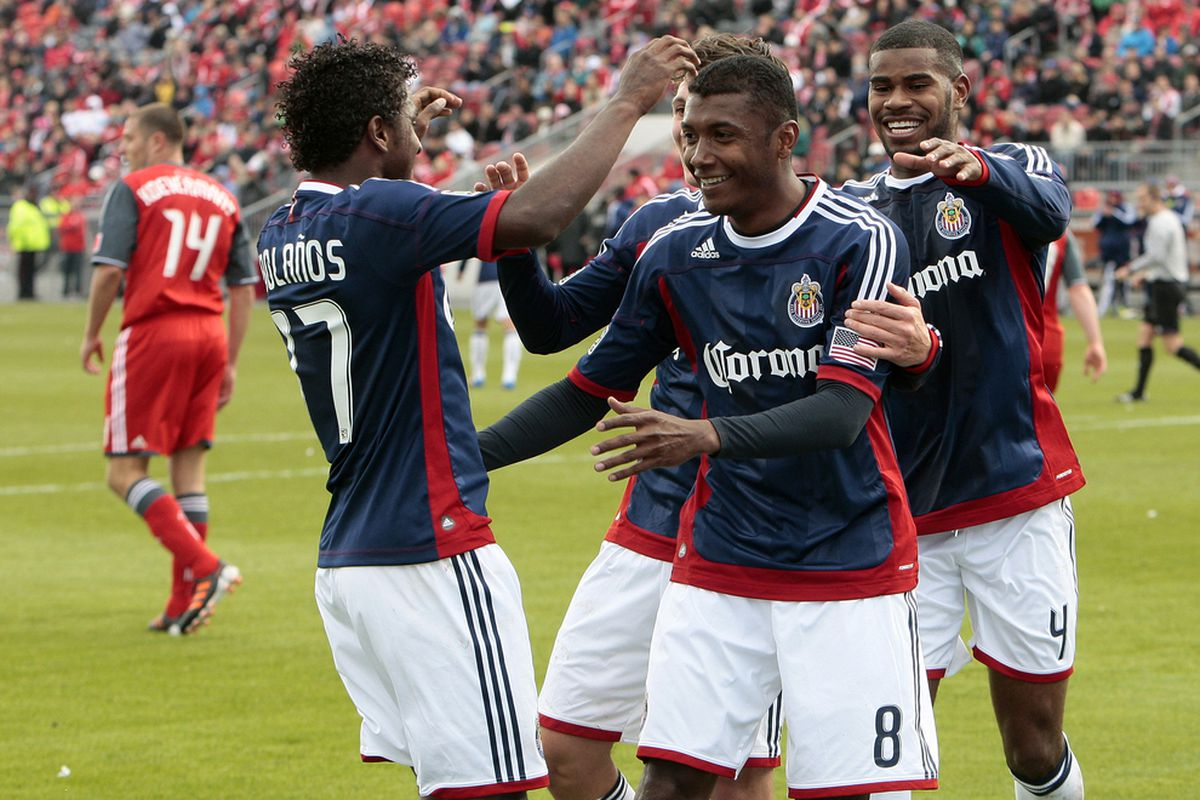 TORONTO, CANADA - MARCH 31: Smiling faces, three points - Chivas could get used to this (Photo by Abelimages/Getty Images)