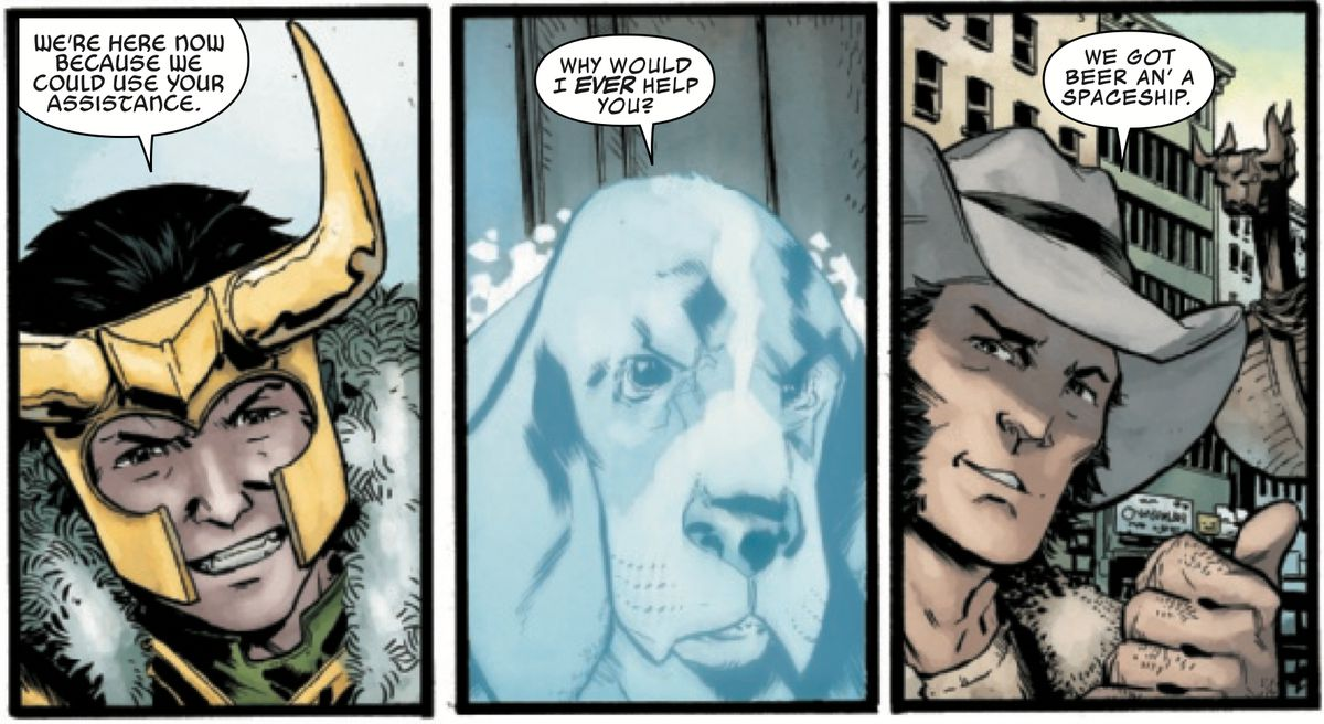 Loki, Bats the Talking Ghost Dog, and Wolverine in Wolverine: Infinity Watch #3, Marvel Comics (2019).