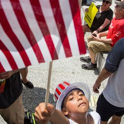 Victor Tapia, age 7, at the Families Belong Together march.   James Foster/For the Sun-Times