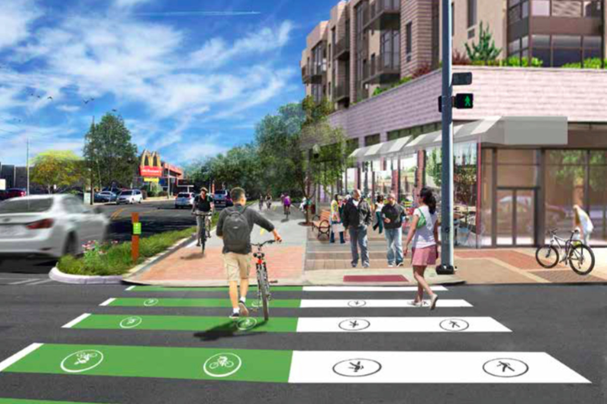 In Decatur, one option for a two-way cycle track along Commerce Drive with a landscape buffer.