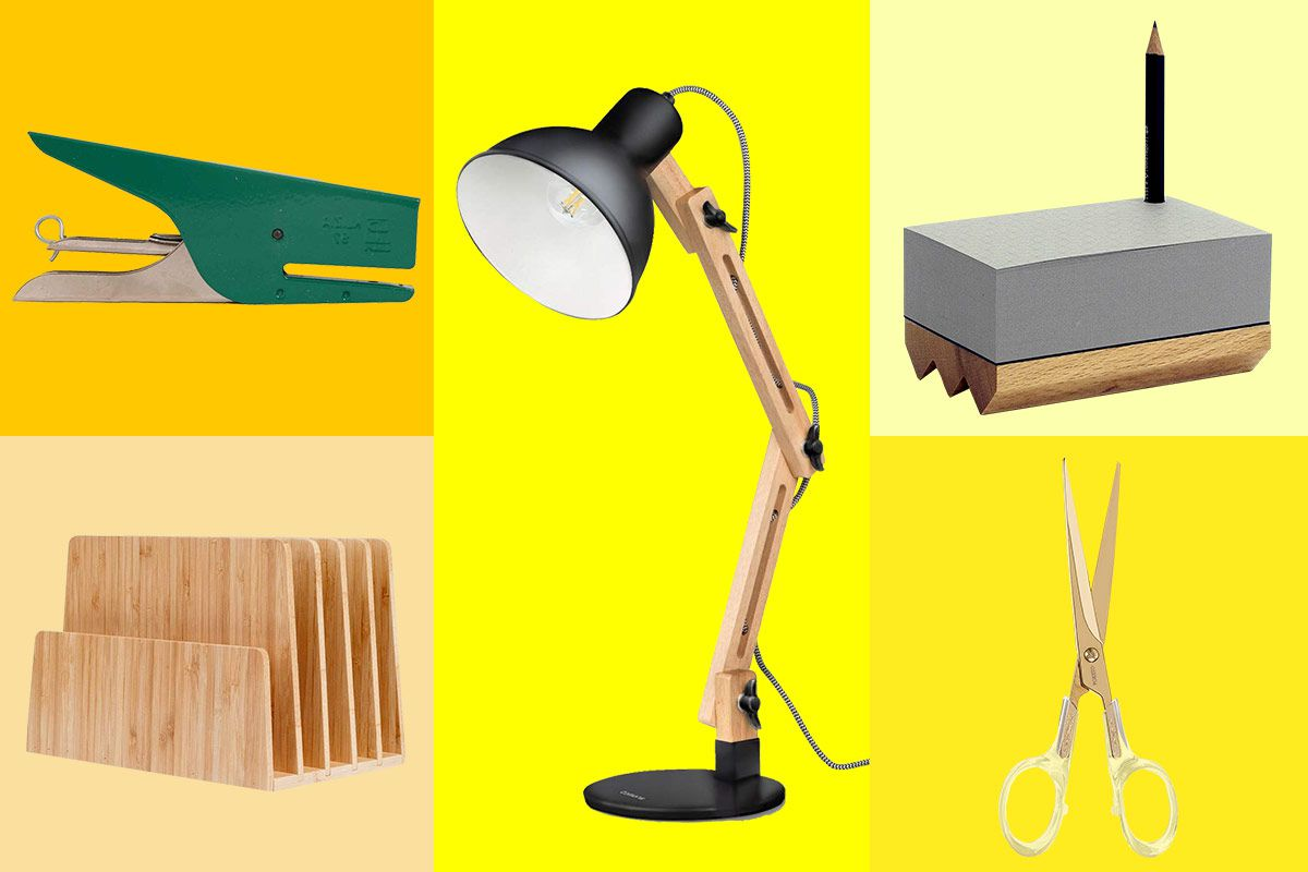 Yellow collage of desk accessories like a stapler, lamp, and mailholder.
