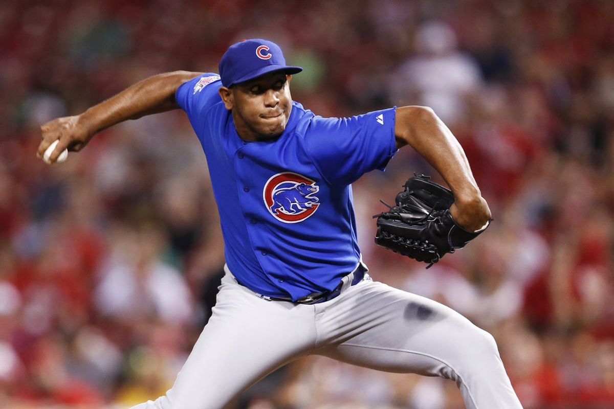 CINCINNATI, OH - MAY 2: Carlos Marmol #49 of the Chicago Cubs pitches against the Cincinnati Reds at Great American Ball Park on May 2, 2012 in Cincinnati, Ohio. The Cubs defeated the Reds 3-1. (Photo by Joe Robbins/Getty Images)
