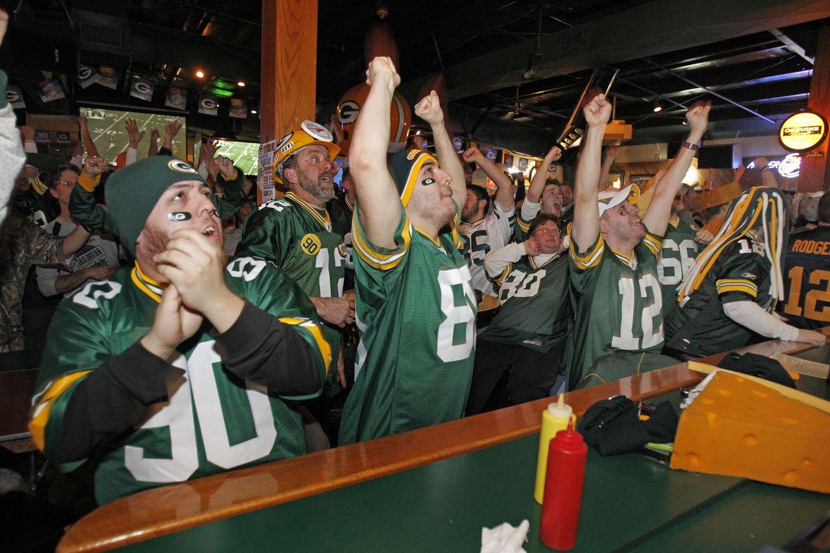 Green Bay Packers Fans Watch Super Bowl XLV