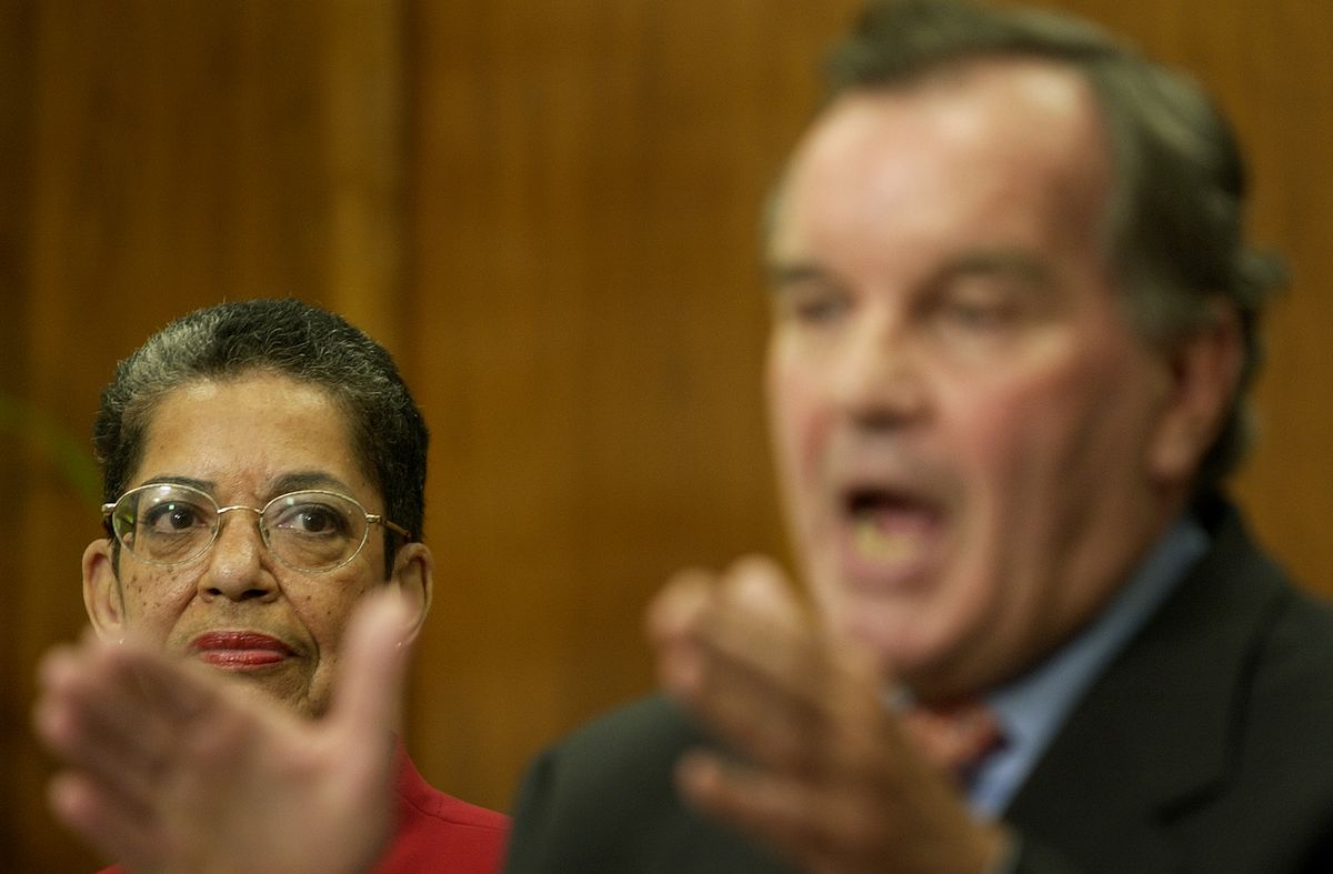08-30-06 City Hall, Chicago - Sharon Gist Gilliam looks at Mayor Daley during his announcement that Gist Gilliam will replace Terry Peterson as Executive Director of the Chicago Housing Authority Wednesday at City Hall in Chicago. -John J. Kim/Sun-Times