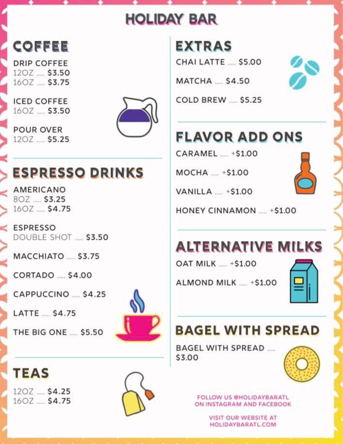 Coffee and tea menu for Holiday Bar in Atlanta, GA
