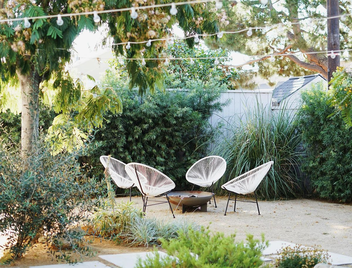 Summer 2021 Outdoor Rooms, Almost Makes Perfect, a modernist makeover with decomposed granite underfoot, low-water plantings, and large-scale concrete pavers