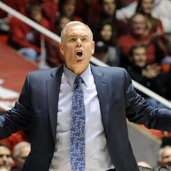 Brigham Young Cougars head coach Dave Rose is upset about a no-call foul during a game at the Jon M. Huntsman Center on Saturday, December 14, 2013.