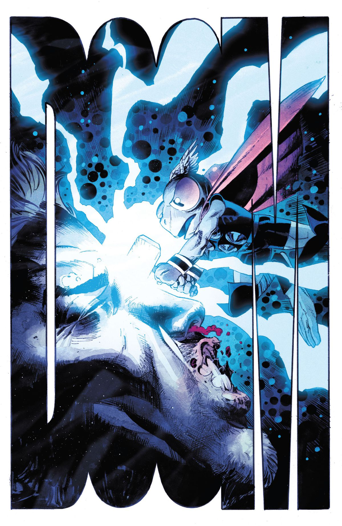 Frog Thor slams his hammer, Frogjolnir, into the bloodied face of Donald Blake with a giant DOOM that takes up the entire page in Thor #12, Marvel Comics (2021).