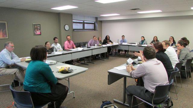 Marion County public and charter school teachers discuss evaluation at a TeachPlus meeting on April 7, 2014. (Scott Elliott)