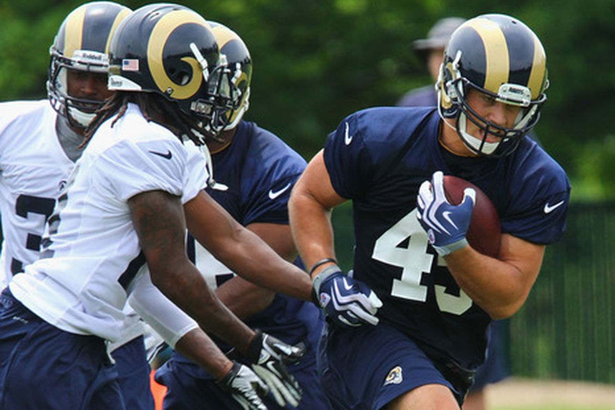 Jamie Childers runs with the ball during rookie mini-camp last may with the St. Louis Rams