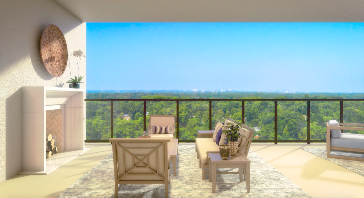 A rendering of a balcony overlooking green trees.