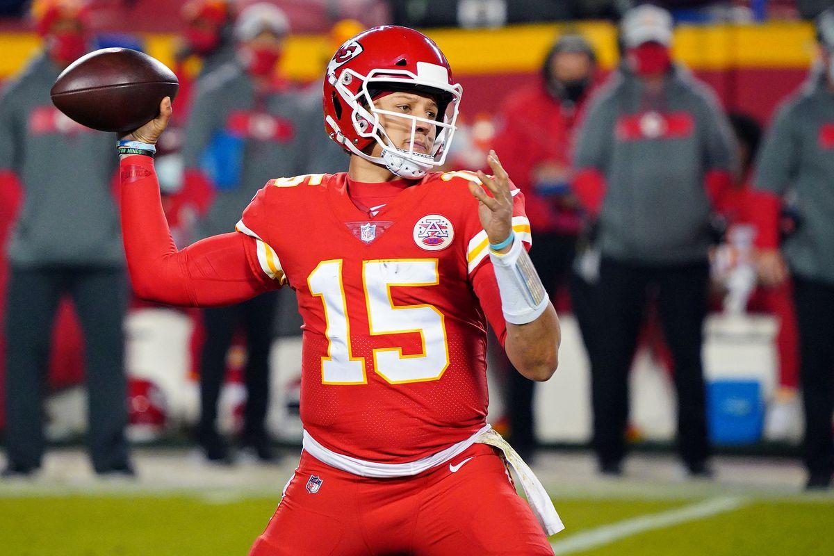 Kansas City Chiefs quarterback Patrick Mahomes (15) throws a pass during the second half against the Denver Broncos at Arrowhead Stadium.