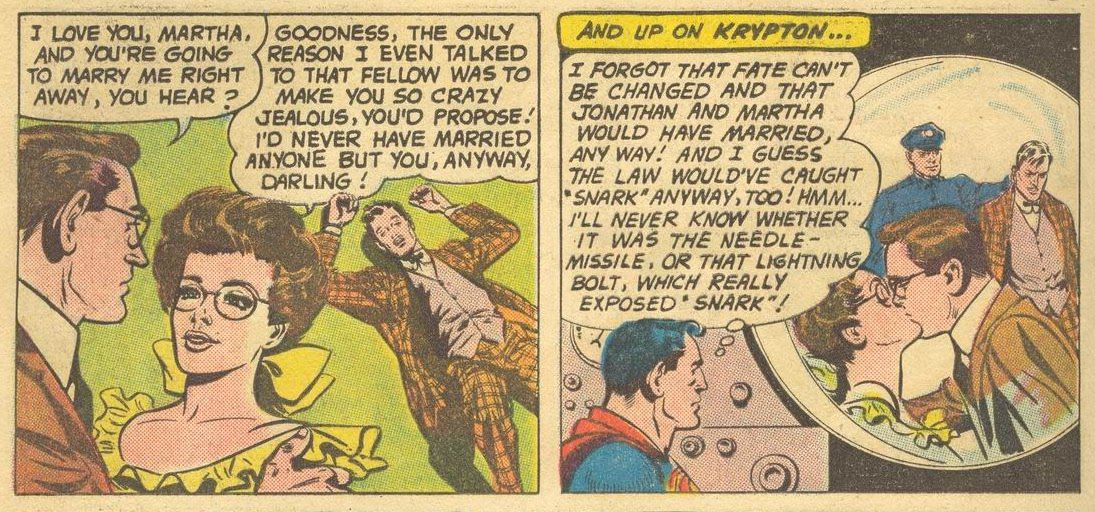 Martha and Jonathan Kent pledge to marry now that he's dispatched her attacker, in Superman #141, DC Comics (1960).