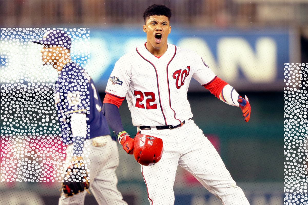 Juan Soto celebrates after driving in the game-winning runs for the Washington Nationals in the NL Wild Card game. Baseball playoffs!