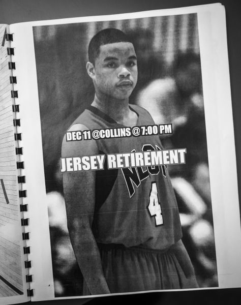 Page from a program honoring Jonathan Mills, a former North Lawndale star who was gunned down on the sidewalk on the way to the gym.