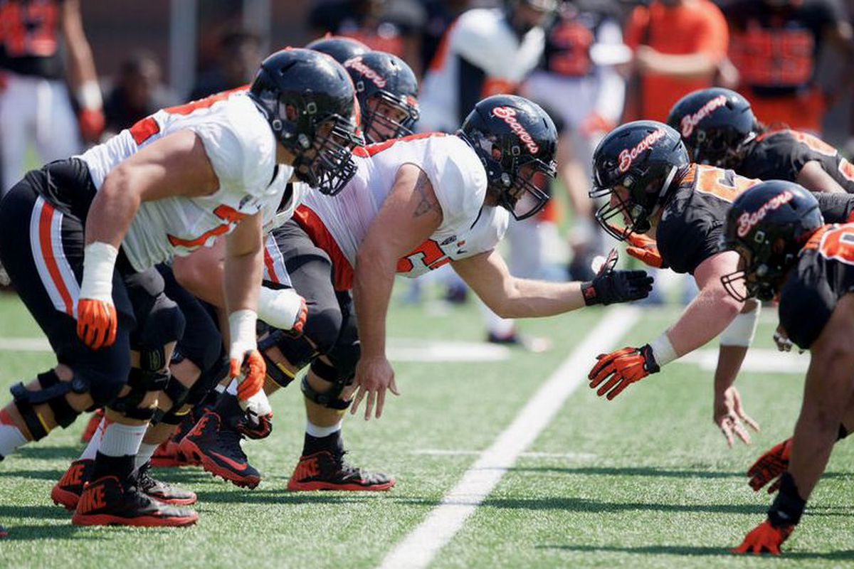 It was full contact for the first time this season at practice for Oregon St. today.